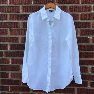 Worth Linen White Button Down Classic Shirt Small